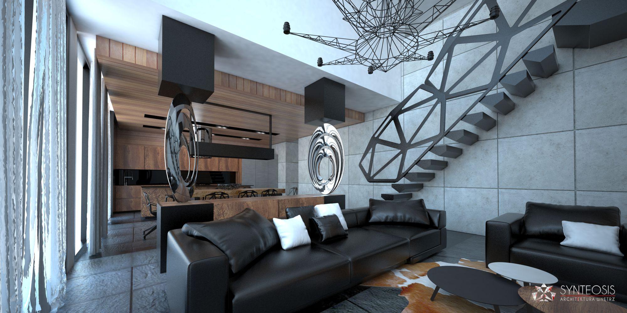Aranżacja wnętrza salonu w domu pod Szczecinem