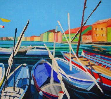 Łodzie-z-Saint-Tropez-akryl-na-płótnie-70-x-100-cm-JULIKA-2017