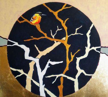 Mały-Ptaszek-obraz-akrylowy-na-płótnie-z-płatkami-do-złoceń-70x70cm-Julika-2020r.