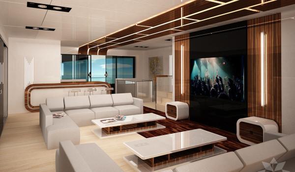Jacht motorowy 90stóp salon widok na bar