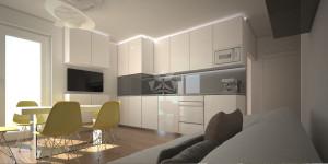 Mieszkanie 43m salon z aneksem kuchennym