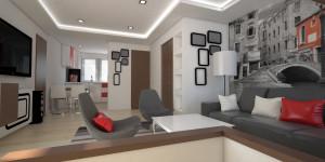 mieszkanie 61m salon z aneksem kuchennym