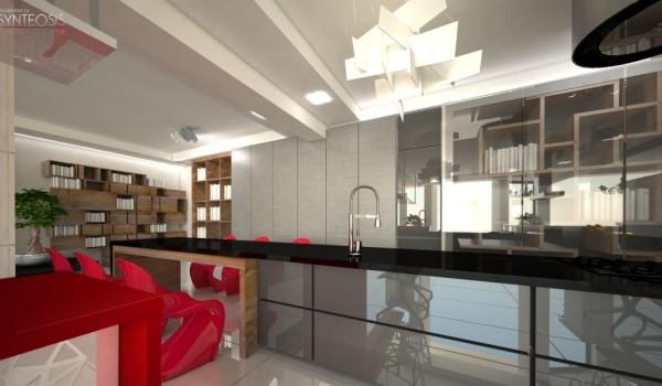 Wizualizacja fotorealistyczna salonu kuchni - Widok 5