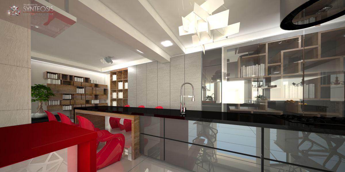 Wizualizacje fotorealistyczne salonu kuchni