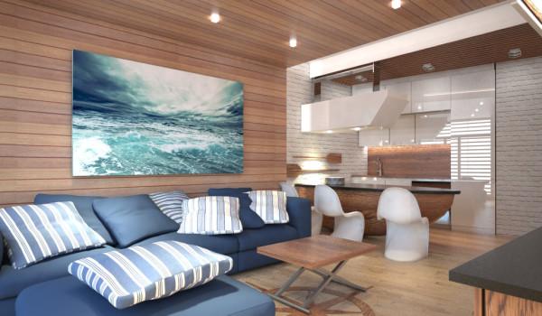 Projekt wnętrza apartamentu w Konstancin- Jeziorna , widok na aneks kuchenny