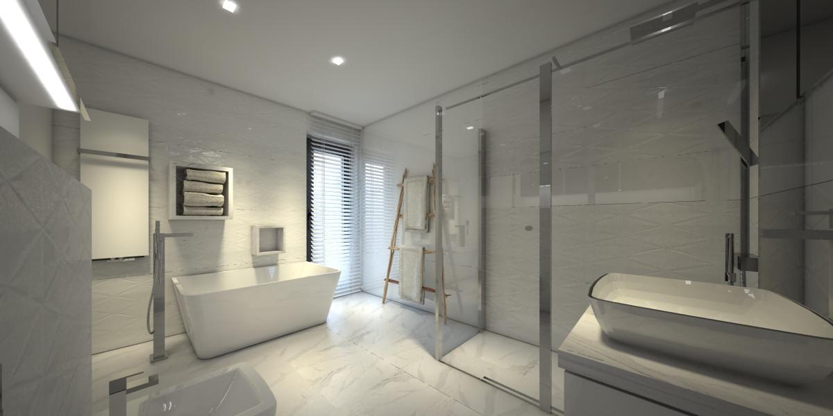 Aranżacja Wnętrza Białej łazienki Gdańsk Synteosis